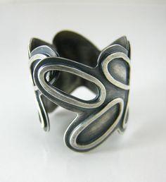 Blackened silver adjustable ring, Unique handmade silver jewelry, art silver, silver jewelry