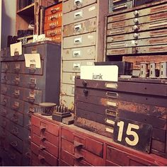 Antique industrial drawers.