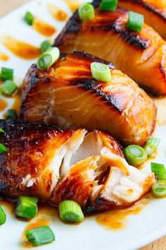 Miso Glazed Black Cod- very good. Couldn't find black cod so used salmon and it turned out super yummy. Added some green onion strips on top. Fish Dishes, Seafood Dishes, Seafood Recipes, Dinner Recipes, Cooking Recipes, Seafood Meals, Salmon Recipes, Asian Recipes, Healthy Recipes