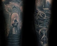 Realistic Heaven Stairs Mens Tattoo Sleeve Design Inspiration