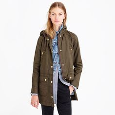 """In search of: olive military anoraks / field jackets. """"Made from our resin-coated cotton twill (the same fabric we use for our downtown field jacket), this is the ultimate three-season jacket. -J.Crew"""