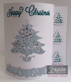 Shaped front card made with Crafter's Companion Die'sire Christmas Cut In Create a Card – Around the Tree. Designed by Marie Jones #crafterscompanion