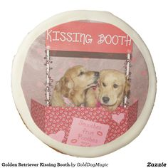 Golden Retriever Kissing Booth Sugar Cookie