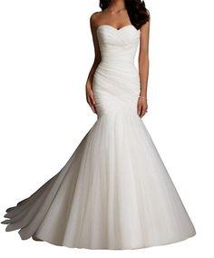 70057bdac5 LD DRES Women Tulle Mermaid Wedding Dresses Bridal Dress Wedding at Amazon  Women s Clothing store