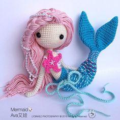 Crochet Doll Pattern - Mermaid-Ava艾娃. (A crochet doll with 2 look, mermaid or little girl)