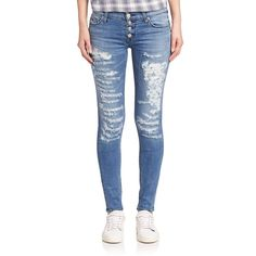 Hudson Ciara Distressed Super Skinny Jeans (335 CAD) ❤ liked on Polyvore featuring jeans, airstrike, apparel & accessories, destructed skinny jeans, ripped jeans, white destroyed skinny jeans, hudson skinny jeans and distressed skinny jeans