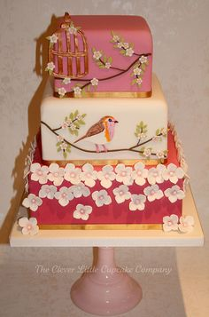 Bird and Blossoms Wedding Cake by The Clever Little Cupcake Company (Amanda), via Flickr