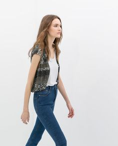 BOLERO JACKET WITH SEQUIN EMBROIDERY