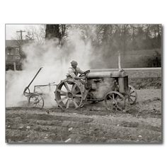 Smoke puffs up as a young man plows a field using a Ford tractor 1925 Antique Tractors, Vintage Tractors, Vintage Farm, Antique Cars, Farmall Tractors, Ford Tractors, Heavy Machinery, Old Farm, Old Trucks