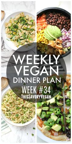 Weekly Vegan Dinner Plan 34 is part of Weekly Vegan Dinner Plan This Savory Vegan - Weekly Vegan Dinner Plan 34 five nights worth of vegan dinners to help inspire your menu Choose one recipe to add to your rotation or make them all shopping list included Vegan Meal Plans, Vegan Meal Prep, Vegan Dinner Recipes, Best Vegan Recipes, Vegan Dinners, Raw Food Recipes, Vegetarian Recipes, Healthy Recipes, Vegetarian Meal Planning