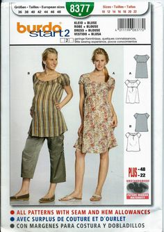 d2f406c31b788 Burda 8377 Misses Maternity Top & Empire Waist Dress Pattern, 10-22, UNCUT