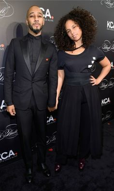 "Power couple! Alicia Keys made a statement in a ""We Need Leaders"" shirt and skirt ensemble as she walked the carpet for the Keep A Child Alive Black Ball with husband Swizz Beatz in NYC."