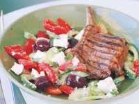 Marjoram and Lemon-Grilled Veal Chops with Greek Salad