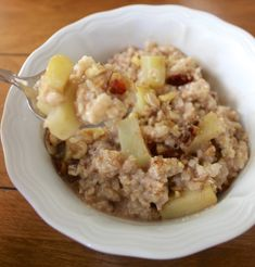 Packed with walnuts, raisins, and cinnamon, this apple pie oatmeal is healthy fall comfort food!