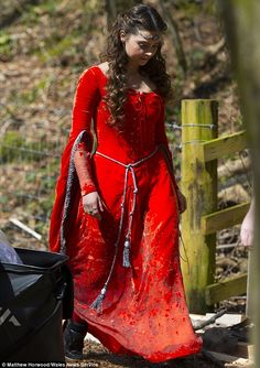 Jenna Coleman wears medieval red dress to film 'Robots Of Sherwood' episode of Doctor Who with Peter Capaldi | Mail Online