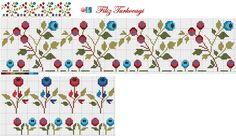 Designed by Filiz Türkocağı Cross Stitch Borders, Cross Stitch Flowers, Cross Stitching, Cross Stitch Embroidery, Embroidery Patterns, Cross Stitch Patterns, Stitch 2, Loom Beading, Needlework