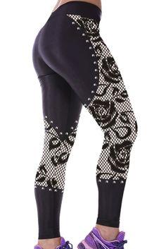 #Leggings #sports Gothic Rose Lace Metal Goujons Detail Gym Capris Yoga – Modebuy.com @pinterest