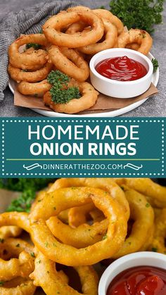 These homemade beer battered onion rings are fun to make and are the perfect appetizer or side dish! These homemade beer battered onion rings are fun to make and are the perfect appetizer or side dish! Onion Recipes, Indian Food Recipes, Meat Recipes, Baked Onions, Vegetarian Snacks, Vegetarian Spring Rolls, Cooking Recipes, Healthy Recipes, Hot Dog Recipes