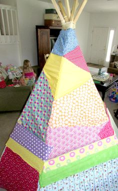 No Sew Patchwork Teepee DIY - Sunshine and Hurricanes
