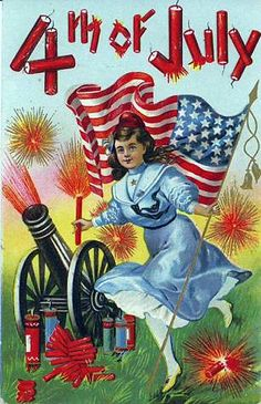 Sparklingly fantastic 4th of July wishes! #vintage #4th_of_July #card
