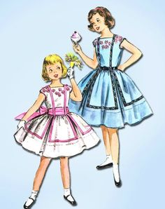 1950s Vintage Girl's Party Dress Unused 1956 McCall's Vtg Sewing Pattern Sz 8 #McCalls #GirlsPartyDress