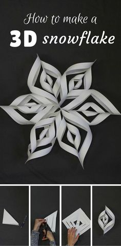 15 Super Ideas For Decor Christmas Diy Paper Snowflakes Christmas Art, Christmas Holidays, Oragami Christmas, Holiday Crafts, Holiday Fun, Walking Holiday, Holiday Stress, 3d Snowflakes, Snowflake Snowflake