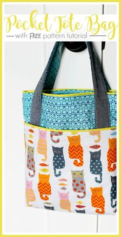 When you see cats in glasses, you think Library Bag – at least I do! I can't get over this fabric, it's so awesome – – it inspired me to make a Pocket Tote, Library Bag, and I've got the FREE pattern