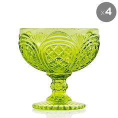 Set of 4 Green Glass Ice Cream Bowls - The Glass Cabinet - on Temple & Webster today
