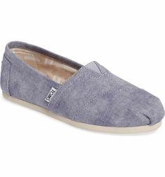 TOMS Twill Alpargata Slip-On (Women) in Medium Blue - Size Info True to size. Details & Care Woven for comfort, this casual slip-on features TOMS' signature center goring panel and asymmetrical toe cap. Slip-on style Removable cushioned insole Textile upper and lining/synthetic sole Imported BP. Shoes With every pair you purchase, TOMS will give a pair of new shoes to a child in need. One for One.® Item #5279857