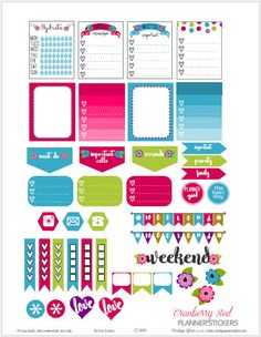 Free Printable Cranberry Red Planner Stickers from Vintage Glam Studio