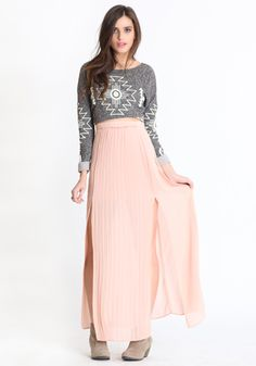 peach chiffon pleated maxi skirt. bought a similar in purple, can't wait until it's warm enough to wear it!