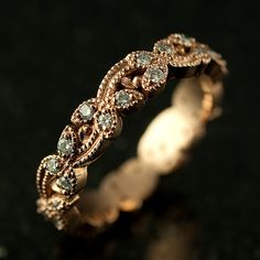 Floral Rose Gold and Diamond Wedding Band by KrombholzJewelers, $1250.00