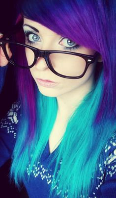 Blue and purple scene hair