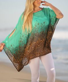 This Green & Brown Leopard Cape-Sleeve Tunic by Ananda's Collection is perfect! #zulilyfinds