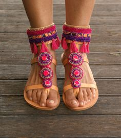 FUCHSIA sandals/ boho sandals/ leather greek by magosisters
