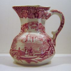 Mason's Vista Pink Red Transferware Hydra Jug Pitcher 1940s   The Vintage Carousel  #Rubylane