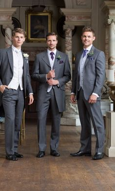 The Groom and Groomsmen Wedding Morning Suits, Mens Fashion Suits, Fashion Outfits, Men's Fashion, Suit Hire, Mother Of Groom Dresses, Bridesmaids And Groomsmen, Wedding Men, Preppy