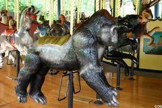 Gorilla merry-go-round animal on carousel at St. Louis Zoo. St Louis, MO.