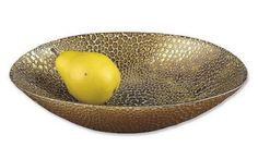 Crystal Oval Bowl with Gold Leaf Plated Snakeskin Pattern | 84D65226. Elegant Oval Decorative Bowl with Antique Gold Leaf Plated Snakeskin Pattern.