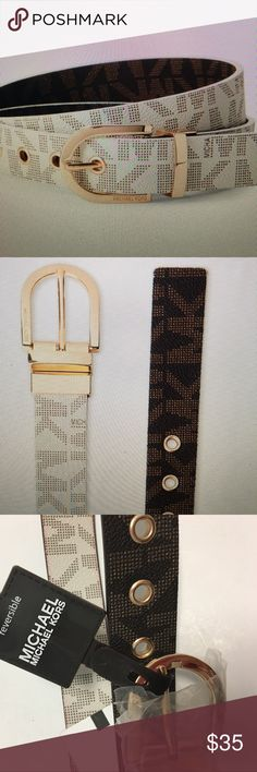NWT MICHAEL KORS REVERSIBLE BELT Brown and vanilla reversible belt with Michael Kors logo and gold hardware MICHAEL Michael Kors Accessories Belts