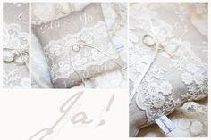 Ringkissen - Vintage Ringkissen bestickt *hochwertige Spitze - ein Designerstück von handmadebyanni bei DaWanda