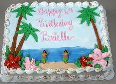 47 Hawaiian Themed Birthday Cake