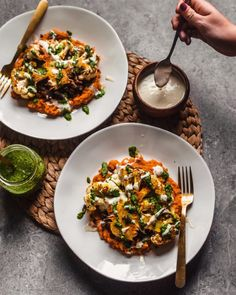Roasted Cauliflower Steak with Sweet Potato Purée and Lentils - hannah chia Delicious Vegan Recipes, Vegetarian Recipes, Cooking Recipes, Healthy Recipes, Cooking Sweet Potatoes, Mashed Sweet Potatoes, Kohl Steaks, Roasted Cauliflower Steaks, Vegan Cauliflower