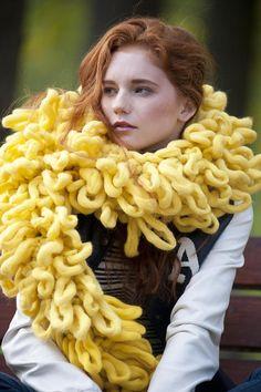 Chunky knit shaggy scarf. Extreme knitting chunky scarf.