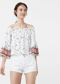 Off shoulder blouse - Shirts for Woman | MANGO Malaysia