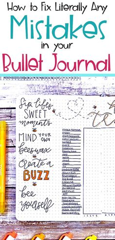 Bullet Journal Hacks- Learn how to fix mistakes in your bullet journal. From smudges bad fonts and doodles and common oops moments learn how to tackle your bujo problems like a pro with these helpful bullet journal tips. Bullet Journal Tracker, Bullet Journal How To Start A, Bullet Journal Spread, Bullet Journal Layout, Bullet Journal Inspiration, Bullet Journals, Bujo, Journal Pages, Journal Ideas