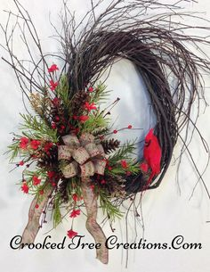 Christmas Wreath With Cardinal