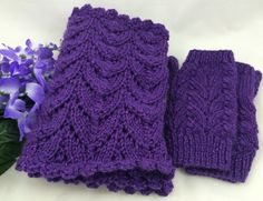 Purple fingerless glove and scarf set handknit in caron simply soft party yarn #cpromo