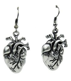 "BRAND NEW! Anatomical Heart EARRINGS 1-1/4"" inches X 3/4"" inches Surgical Steel / hypoallergenic Base"