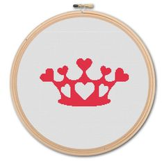 Crown with Hearts,  Counted Cross stitch , Pattern PDF, Instant download. Cross stitch pattern . Includes easy beginner instructions.